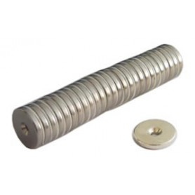 Aimant bouton - c/le trou - neodim d.De 20 kg.30