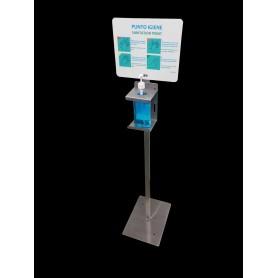 Post gel désinfectant - smart - acier inoxydable - avec le signe info