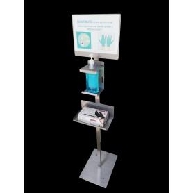Colonne de gel de désinfection - top - acier inoxydable - c/cartel et infos supp.gants